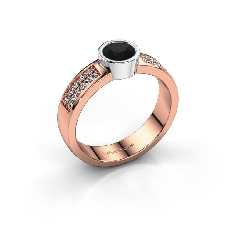 Verlovingsring Ise 3 585 rosé goud zwarte diamant 0.63 crt