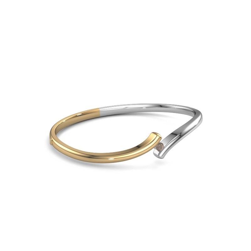 Bracelet jonc Amy 585 or jaune quartz fumé 3.4 mm