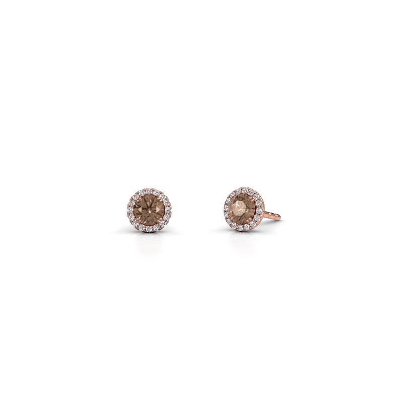 Oorbellen Seline rnd 375 rosé goud bruine diamant 0.64 crt