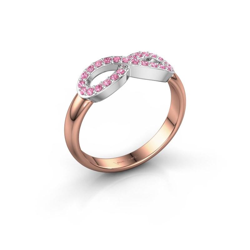 Ring Infinity 2 585 rosé goud roze saffier 1.2 mm