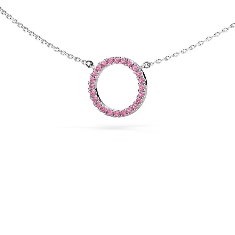 Anhänger Circle 925 Silber Pink Saphir 1.2 mm
