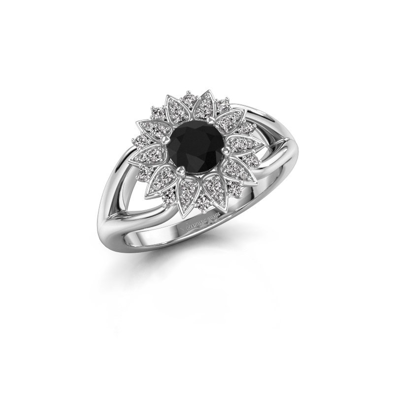 Verlovingsring Chasidy 1 585 witgoud zwarte diamant 0.60 crt