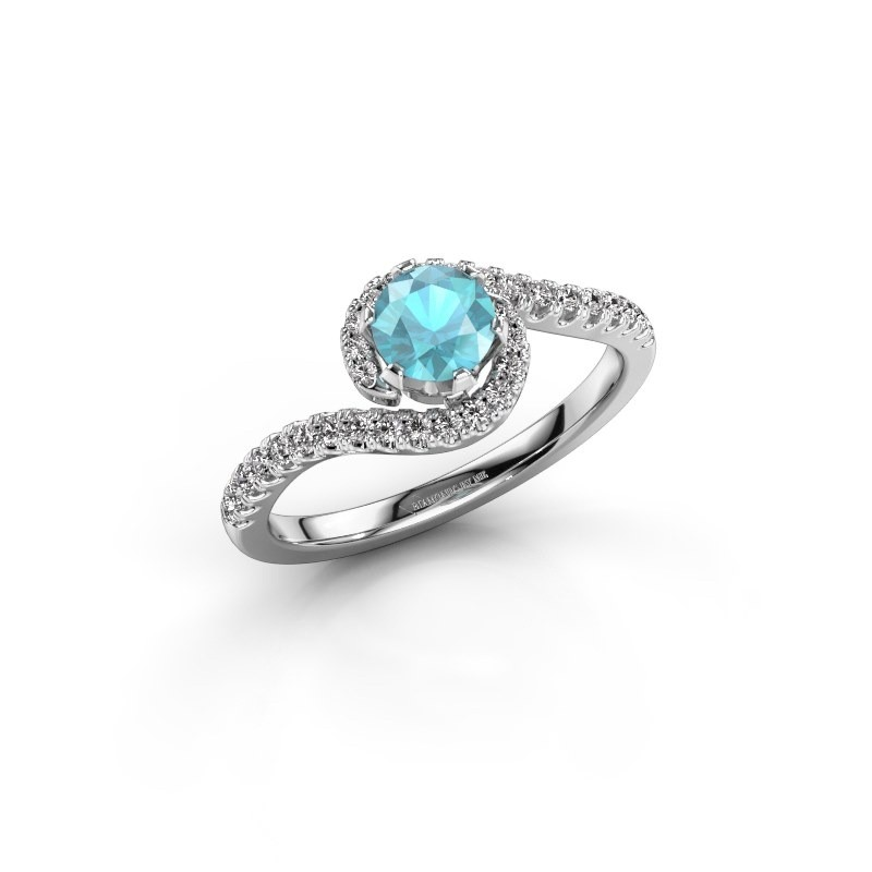Verlovingsring Elli 925 zilver blauw topaas 5 mm