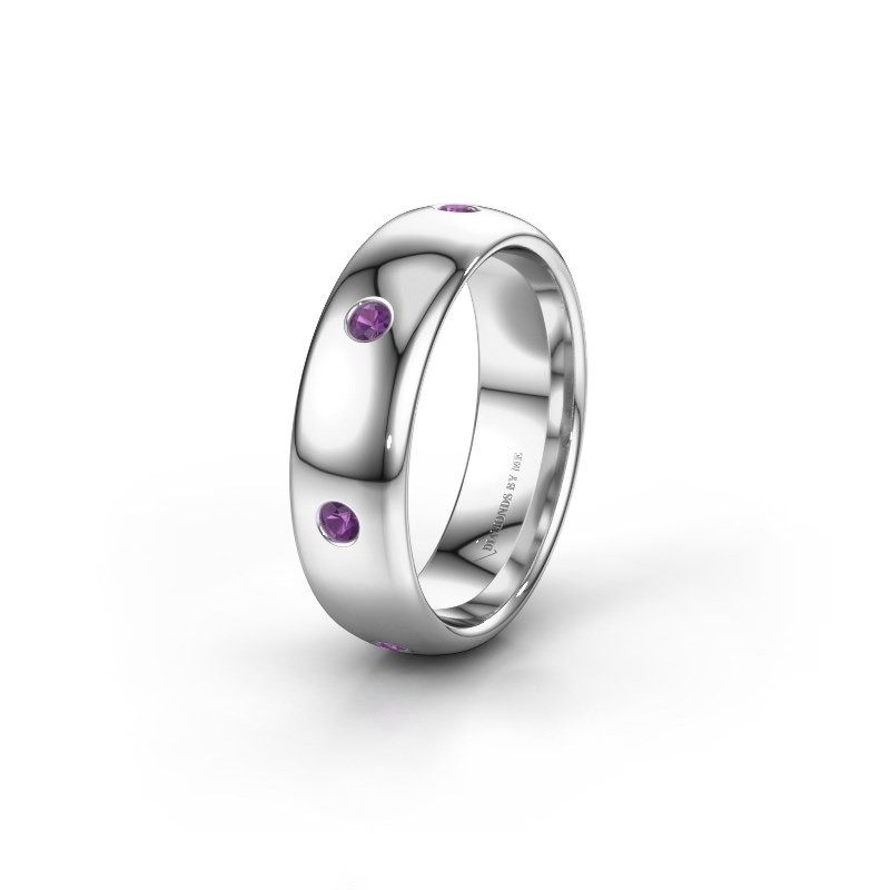 Wedding ring WH0105L36BP 950 platinum amethyst ±0.24x0.08 in