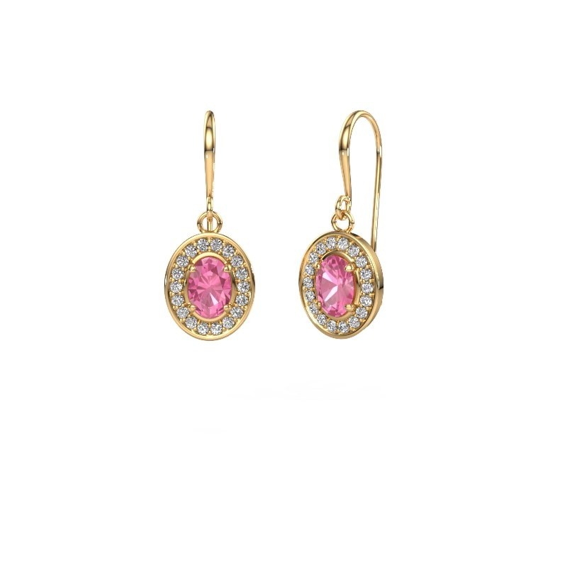 Drop earrings Layne 1 375 gold pink sapphire 6.5x4.5 mm