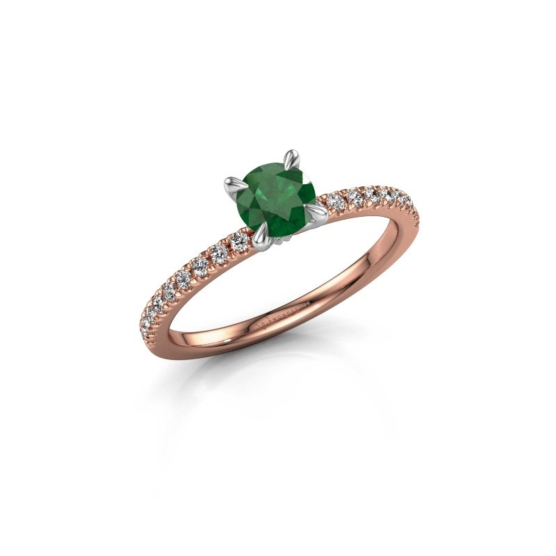 Verlobungsring Crystal rnd 2 585 Roségold Smaragd 5 mm