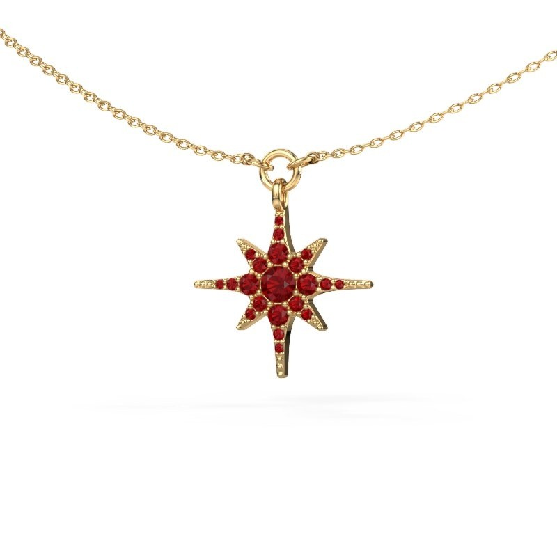 Halsketting Star 375 goud robijn 3 mm