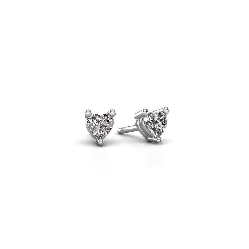 Oorstekers Garnet 585 witgoud diamant 0.50 crt
