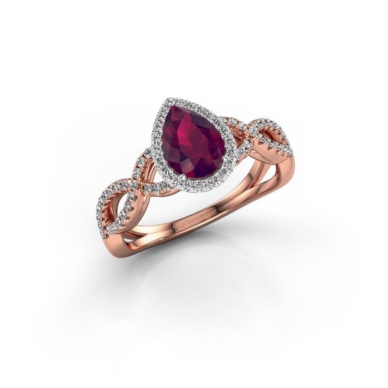 Engagement ring Dionne pear 585 rose gold rhodolite 7x5 mm