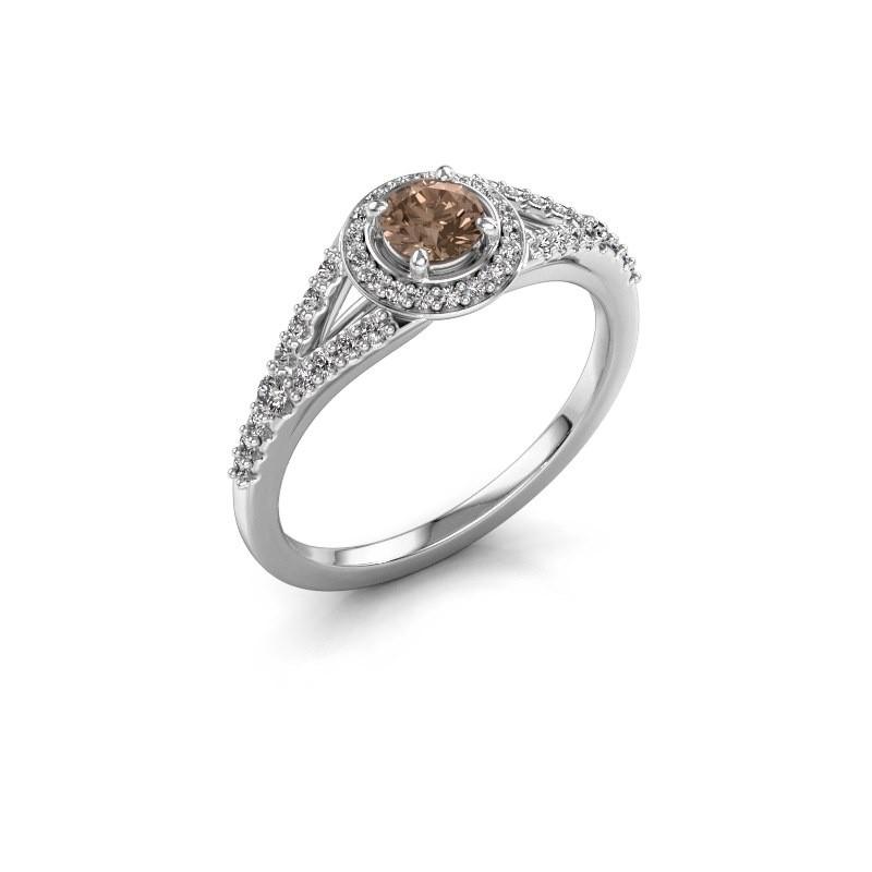 Verlovingsring Pamela RND 585 witgoud bruine diamant 0.482 crt