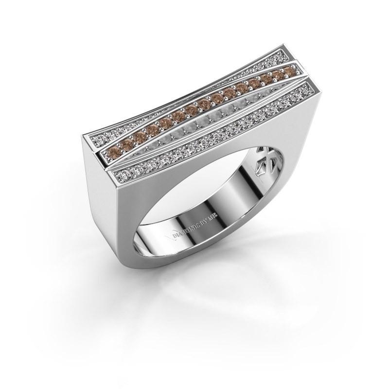 Ring Erma 585 witgoud bruine diamant 0.338 crt