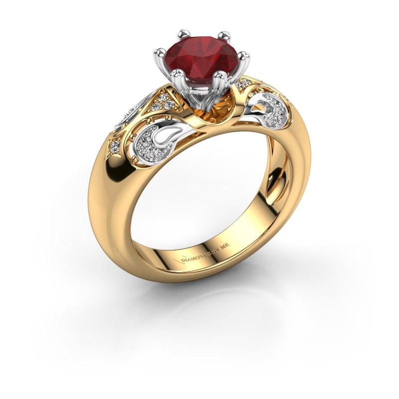Ring Maya 585 goud robijn 6.5 mm