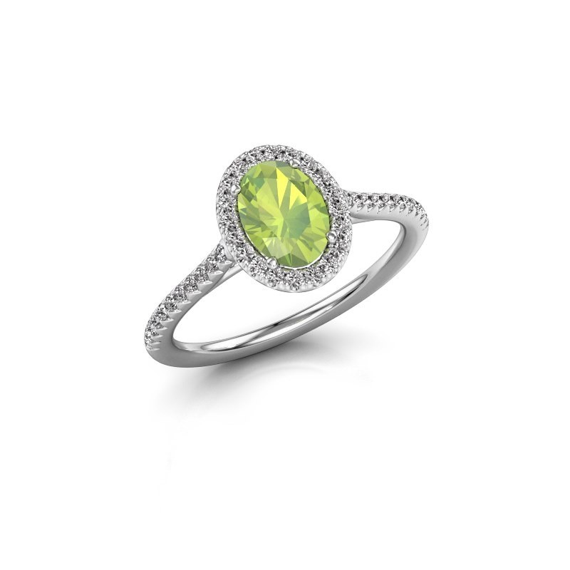 Engagement ring Seline 2 585 white gold peridot 7x5 mm