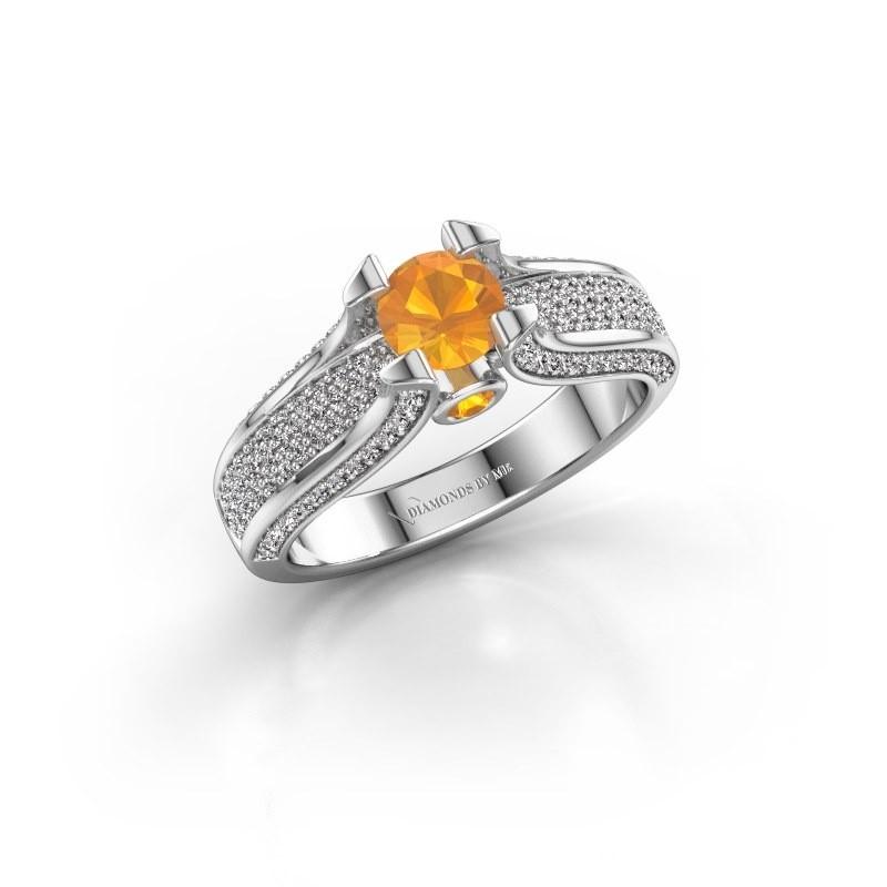 Verlovingsring Jeanne 2 950 platina citrien 5 mm