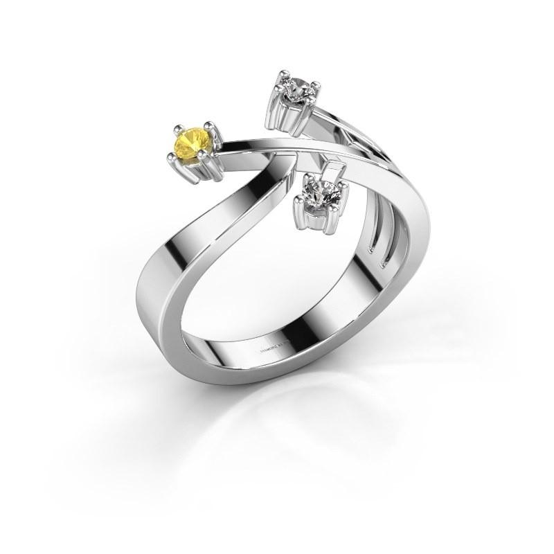 Ring Lillian 925 zilver gele saffier 2.5 mm