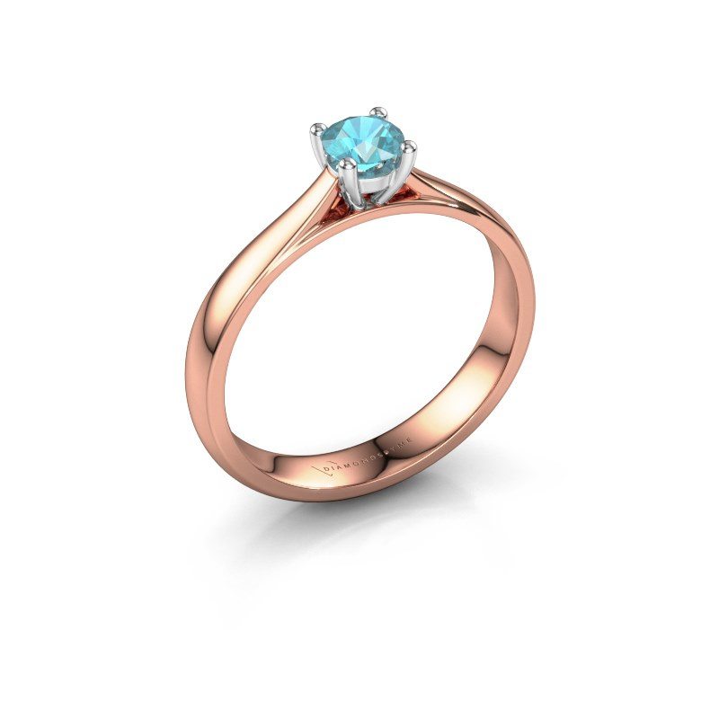 Engagement ring Sam 585 rose gold blue topaz 4.2 mm