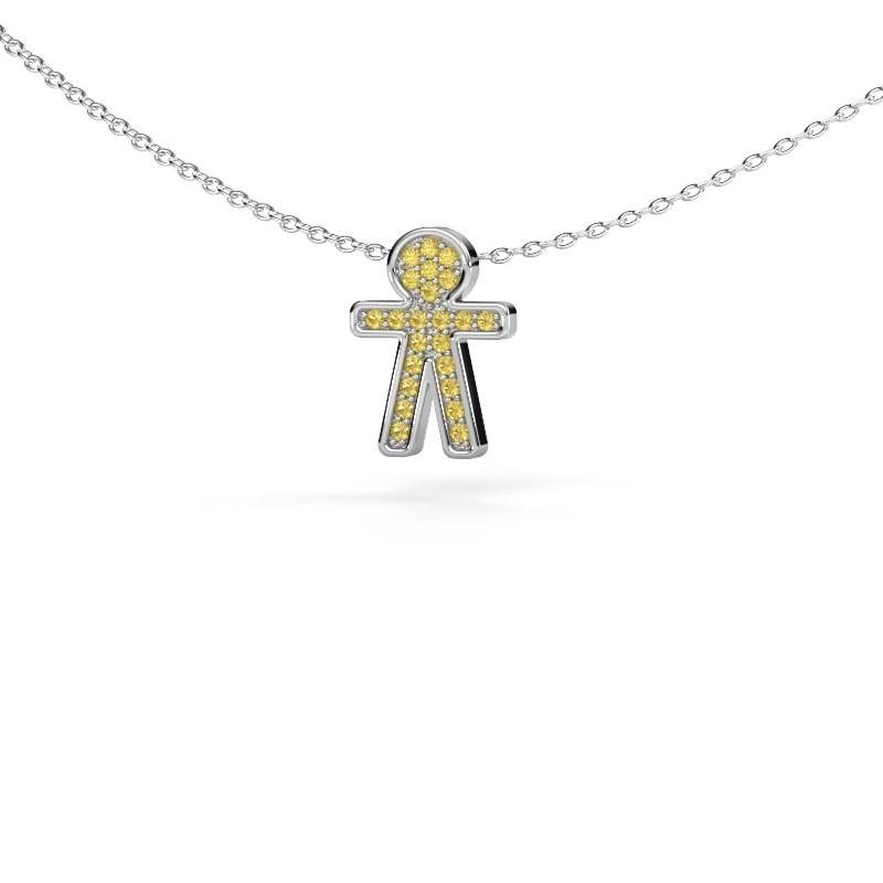 Hanger Boy 925 zilver gele saffier 1 mm
