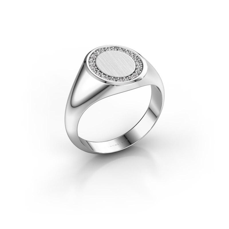 Men's ring Floris Oval 2 585 white gold diamond 0.18 crt