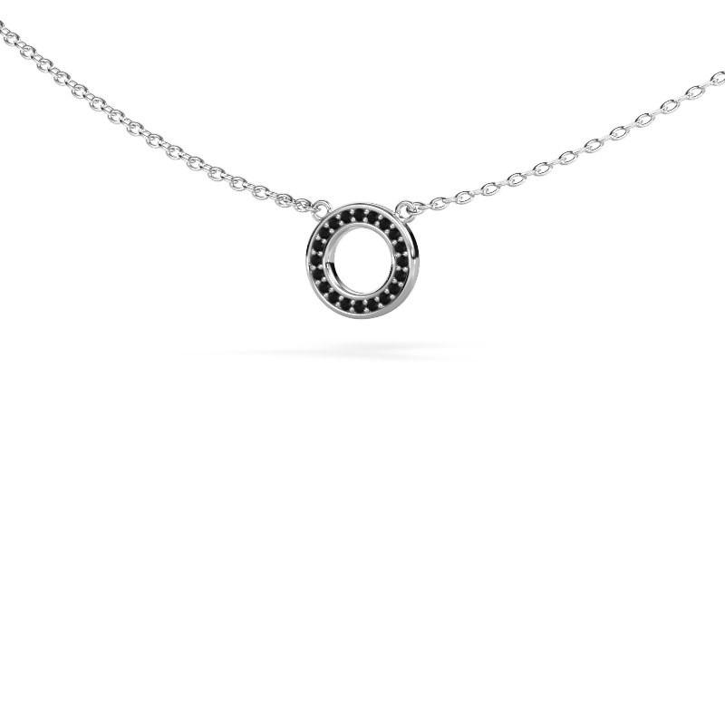 Hanger Round 2 585 witgoud zwarte diamant 0.06 crt
