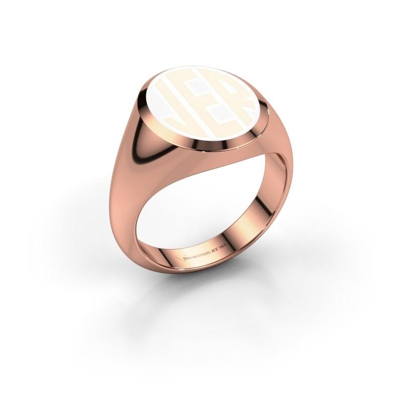 Monogram ring Paul emaille 375 rosé goud