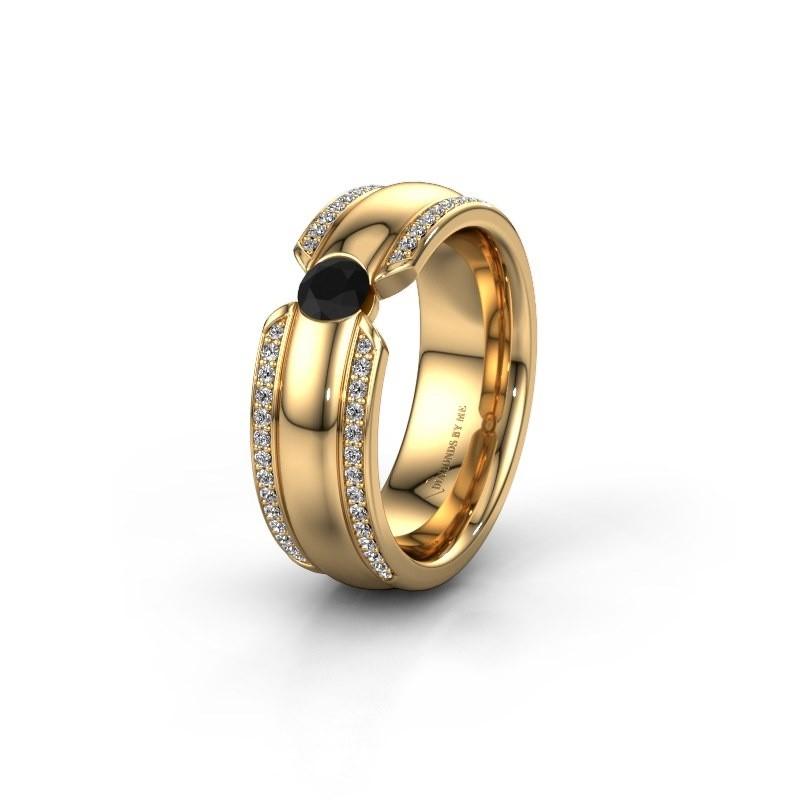 Trouwring WHR0575L 375 goud zwarte diamant ±7x2 mm