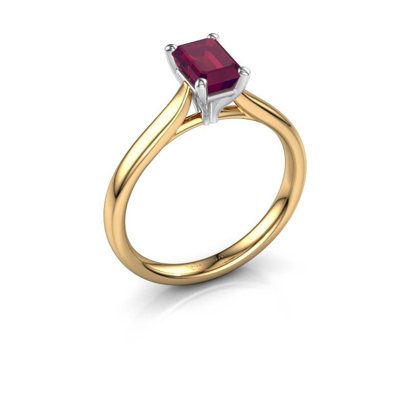 Verlovingsring Mignon eme 1 585 goud rhodoliet 6.5x4.5 mm