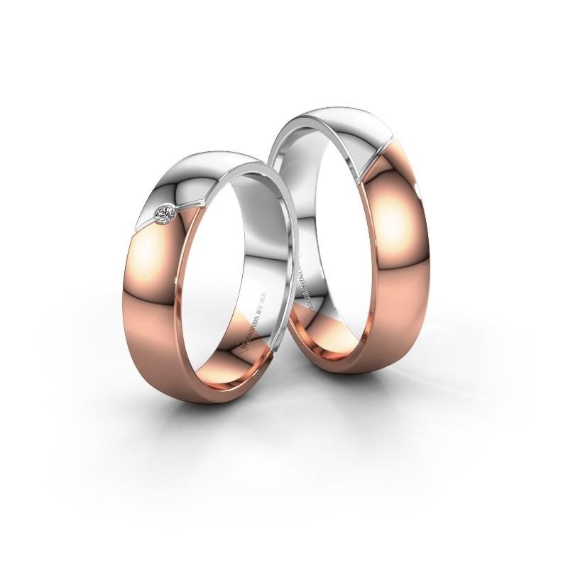 Trouwringen set WH1201LM25AP ±5x1.7 mm 14 karaat rosé goud diamant 0.02 crt