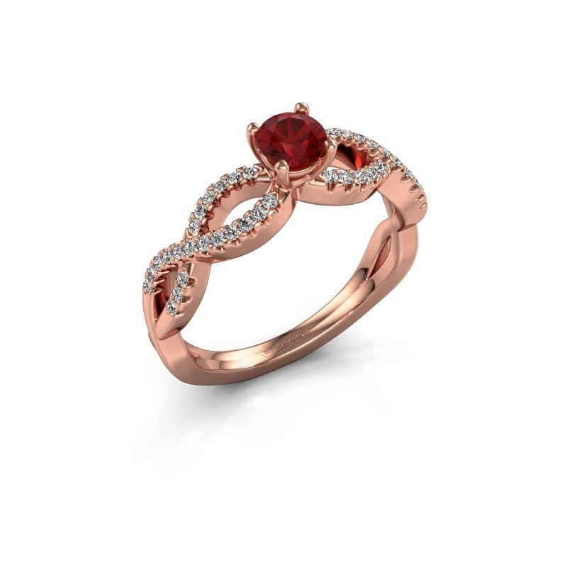 Verlovingsring Hanneke 375 rosé goud robijn 4.7 mm