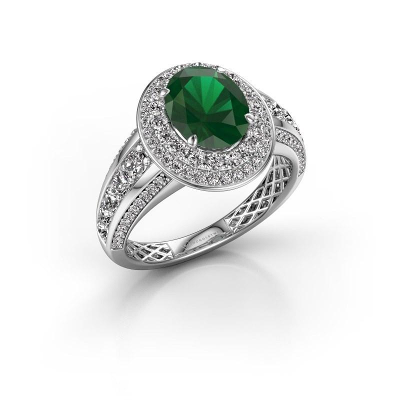 Verlovingsring Nancie 585 witgoud smaragd 9x7 mm