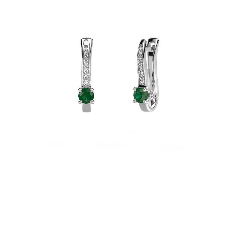 Oorbellen Valorie 585 witgoud smaragd 4 mm