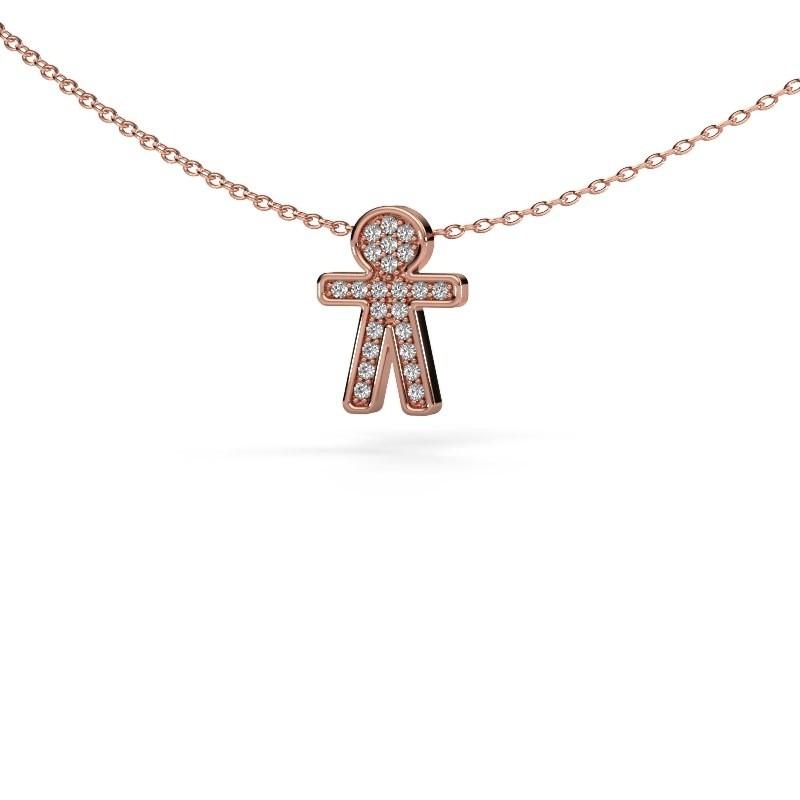Hanger Boy 375 rosé goud zirkonia 1 mm