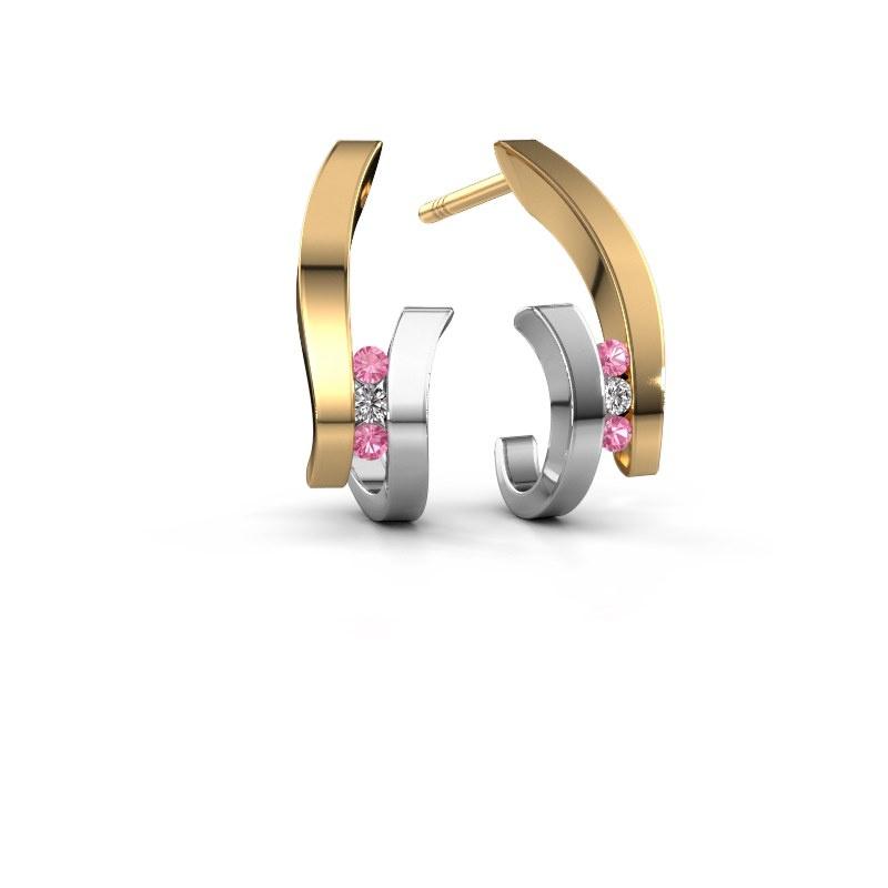 Oorbellen Juliette 585 goud roze saffier 1.5 mm
