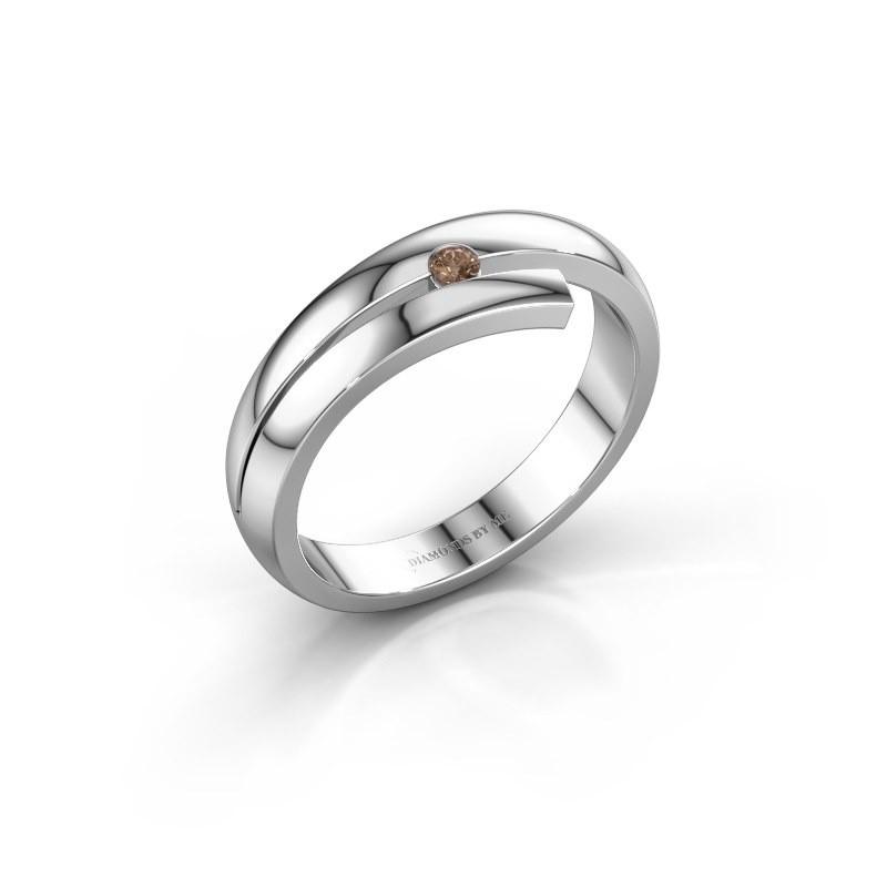Ring Shela 585 witgoud bruine diamant 0.045 crt