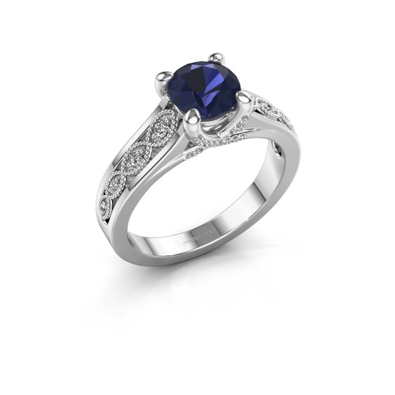 Engagement ring Clarine 925 silver sapphire 6.5 mm