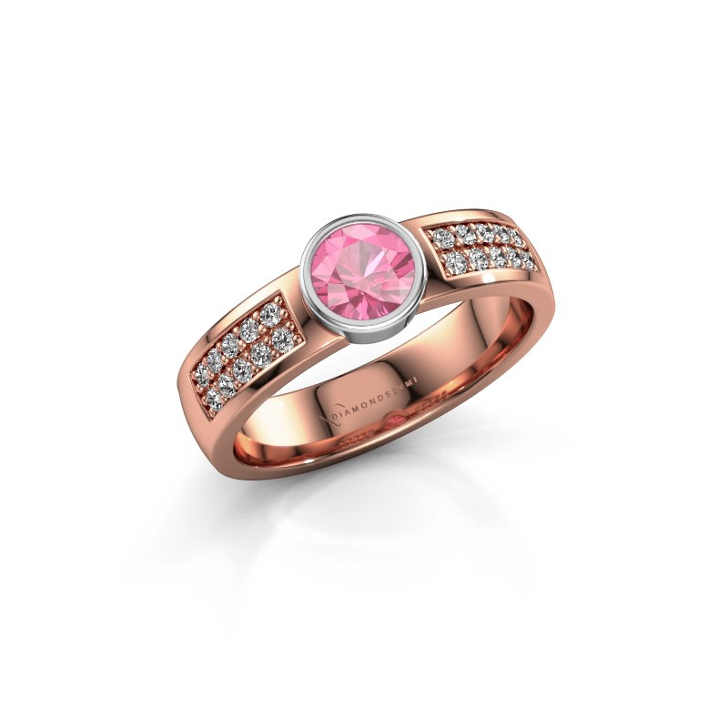 Engagement ring Ise 3 585 rose gold pink sapphire 4.7 mm