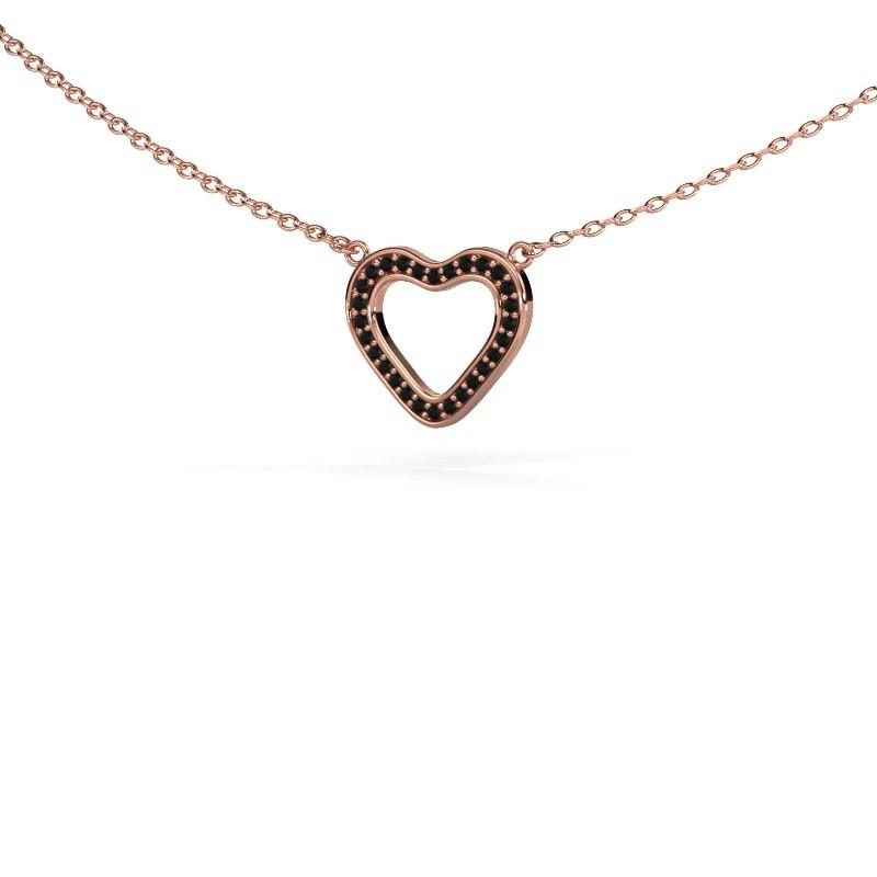 Pendentif Heart 3 375 or rose diamant noir 0.084 crt