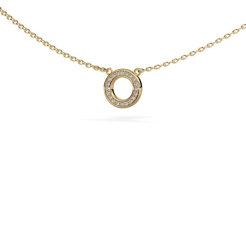 Hanger Round 2 375 goud zirkonia 0.8 mm