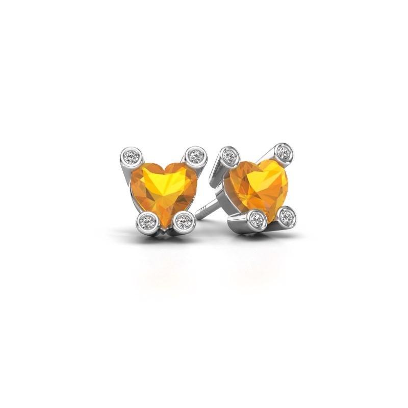 Oorstekers Cornelia Heart 950 platina citrien 6 mm