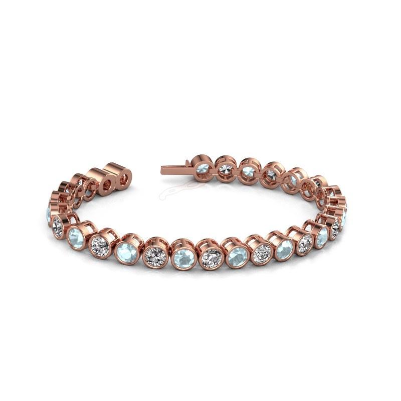 Tennis bracelet Allegra 5 mm 375 rose gold aquamarine 5 mm