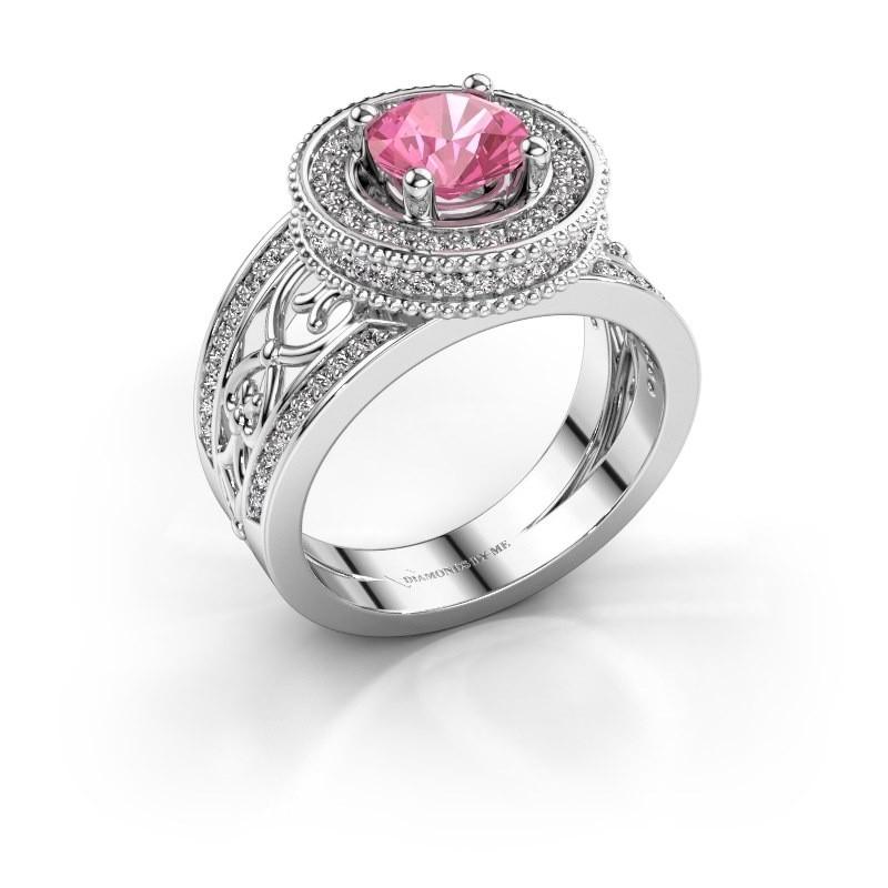 Ring Joy 950 platina roze saffier 6.5 mm