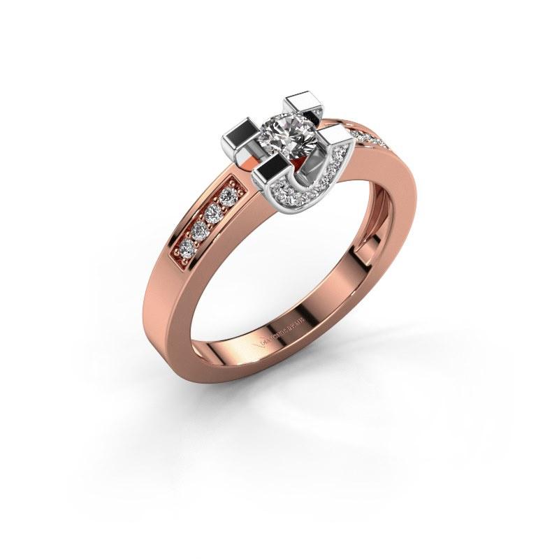Verlovingsring Jasmijn 2 585 rosé goud diamant 0.41 crt