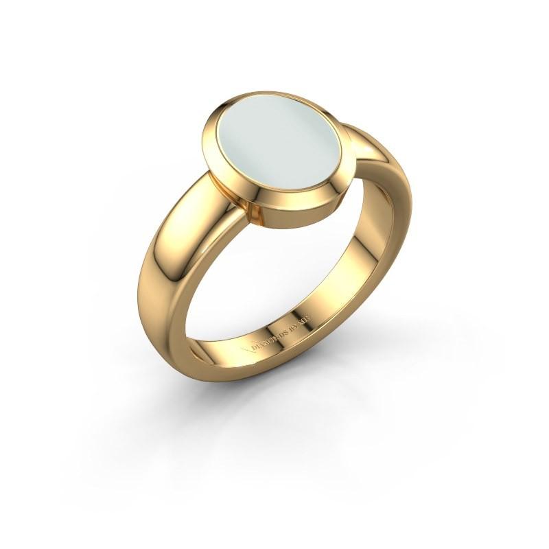 Signet ring Freeda 1 585 gold green sardonyx 10x8 mm