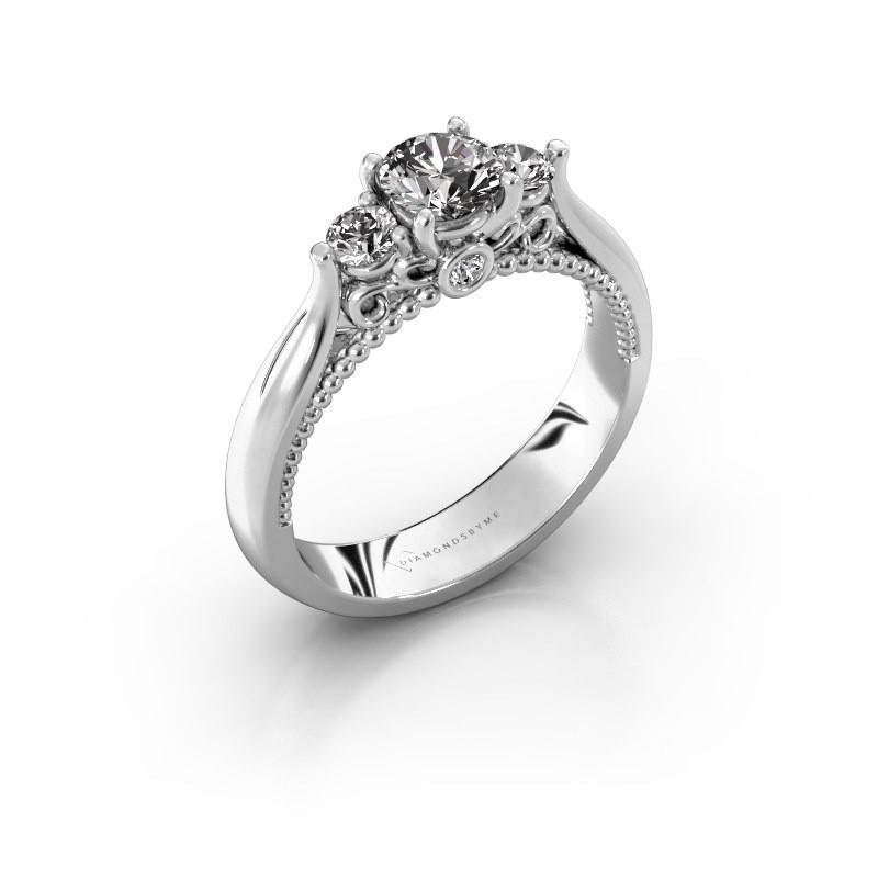 Verlovingsring Tiffani 585 witgoud diamant 0.74 crt