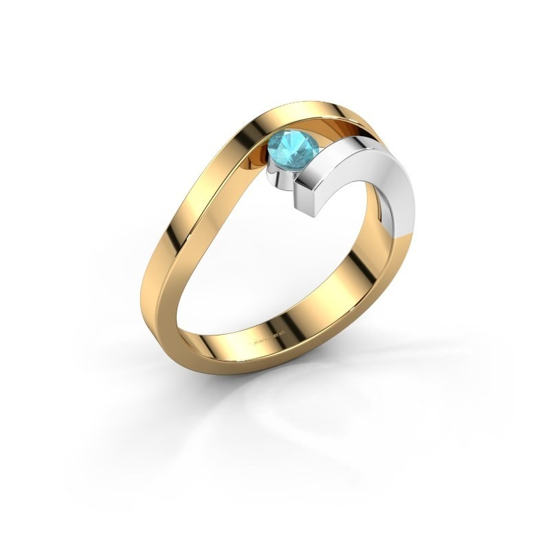 Ring Evalyn 1 585 goud blauw topaas 3.7 mm