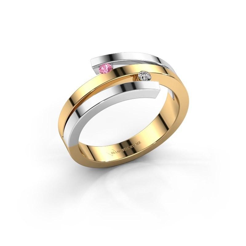 Ring Roxane 585 goud roze saffier 2 mm