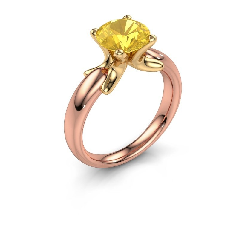 Ring Jodie 585 rose gold yellow sapphire 8 mm