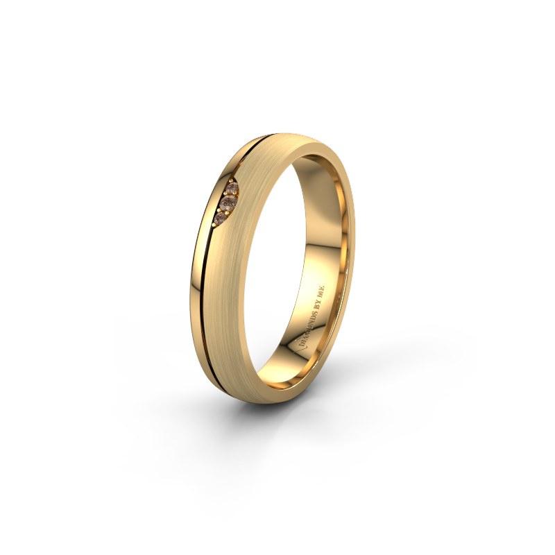 Trouwring WH0334L24X 585 goud bruine diamant ±4x1.5 mm