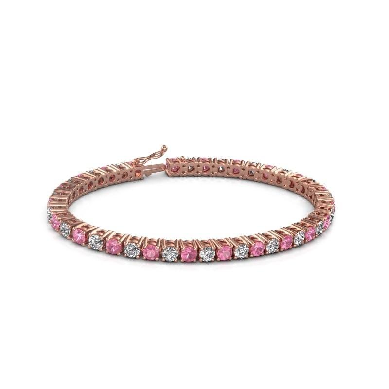 Tennis bracelet Karin 375 rose gold pink sapphire 4 mm