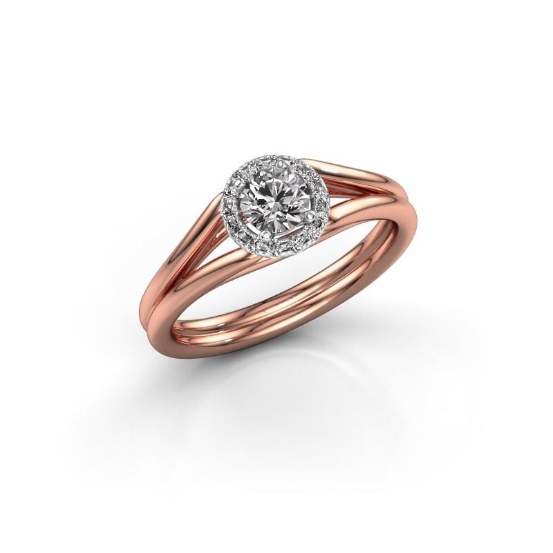 Engagement ring Verla rnd 1 585 rose gold diamond 0.394 crt