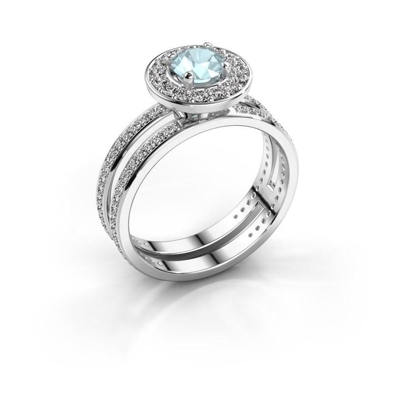 Promise ring Shila 585 white gold aquamarine 5 mm